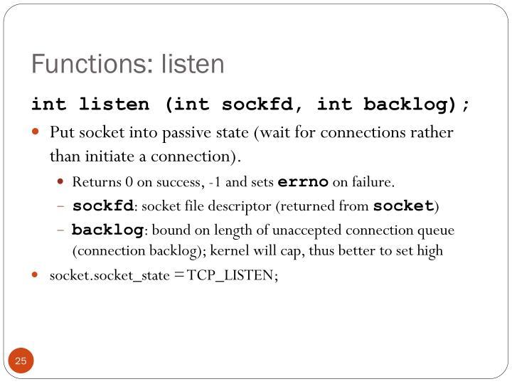 Functions: listen