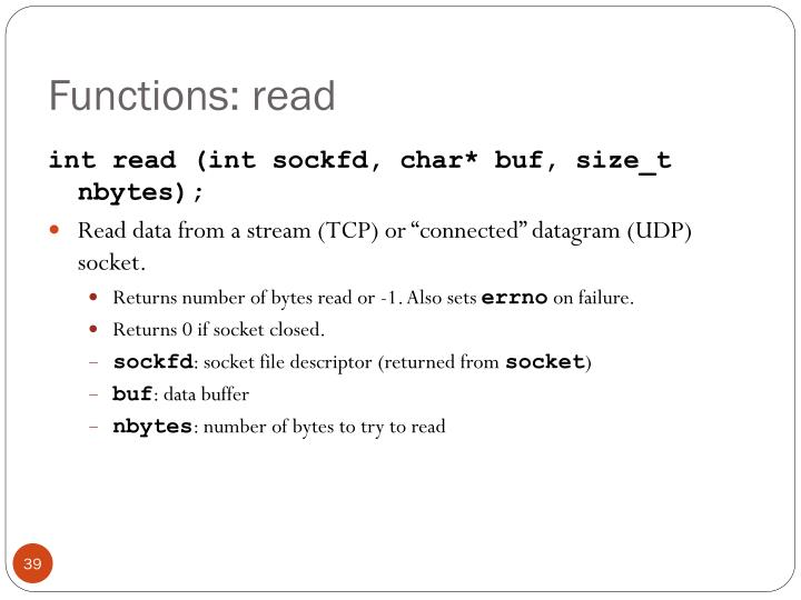 Functions: read