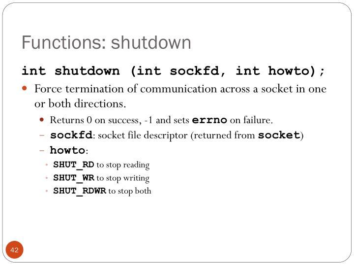 Functions: shutdown