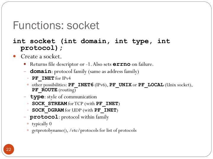 Functions: socket