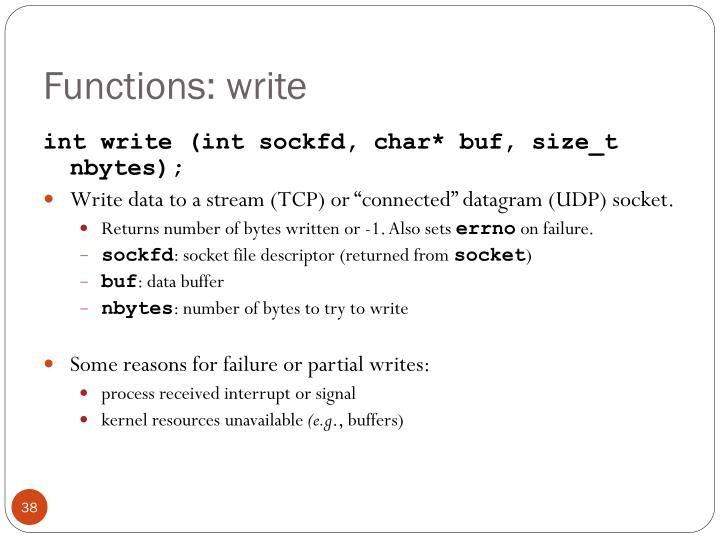 Functions: write