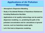 applications of air pollution meteorology