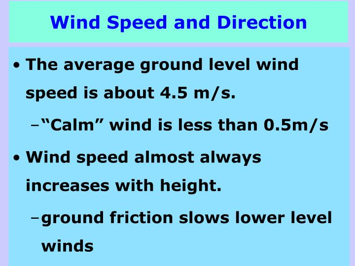 Wind Speed and Direction