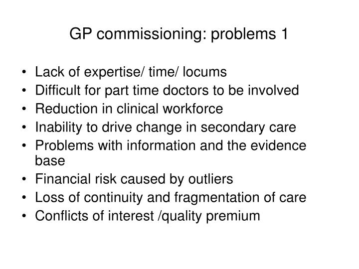 GP commissioning: problems 1