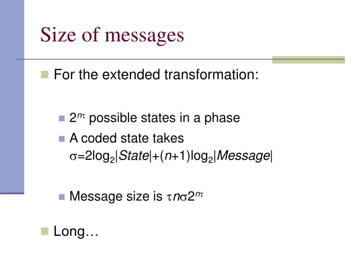Size of messages