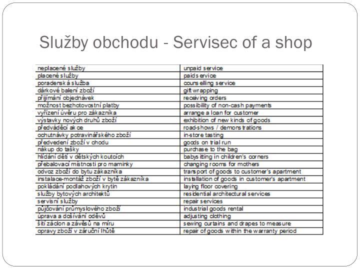 Služby obchodu