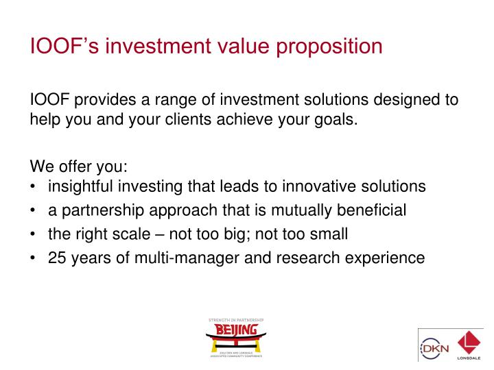 IOOF's investment value proposition