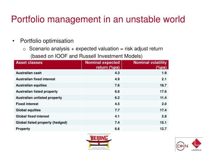 Portfolio management in an unstable world