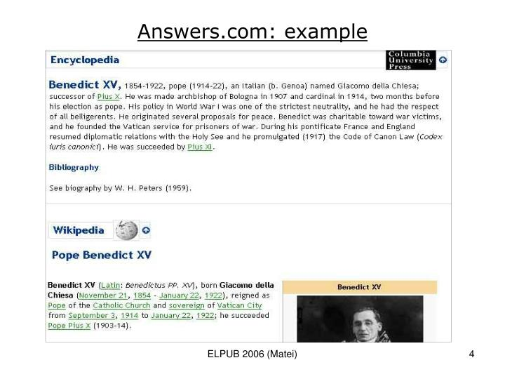 Answers.com: example