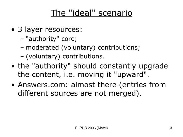 "The ""ideal"" scenario"