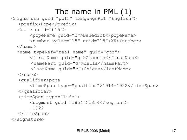 The name in PML (1)