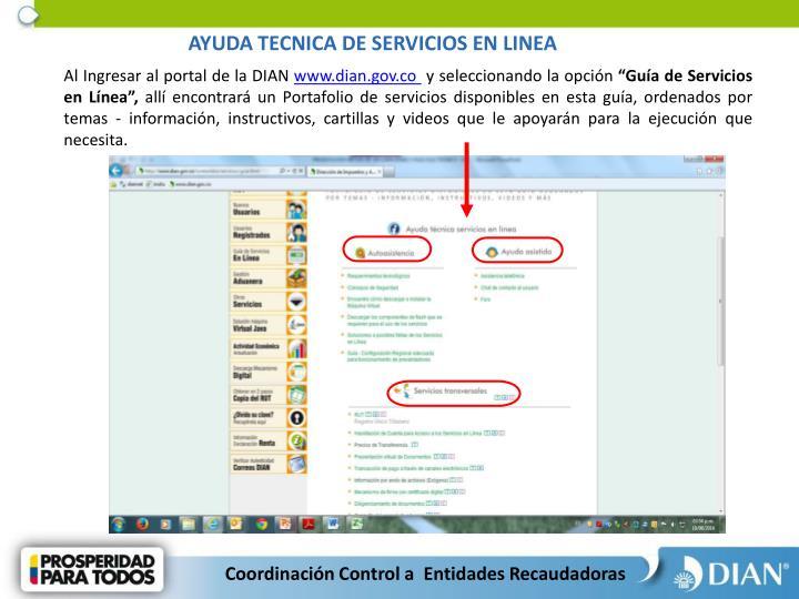 AYUDA TECNICA DE SERVICIOS EN LINEA