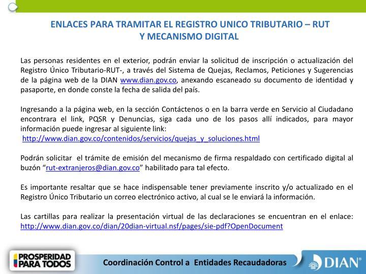 ENLACES PARA TRAMITAR EL REGISTRO UNICO TRIBUTARIO