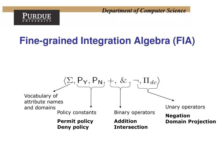 Fine-grained Integration Algebra (FIA)