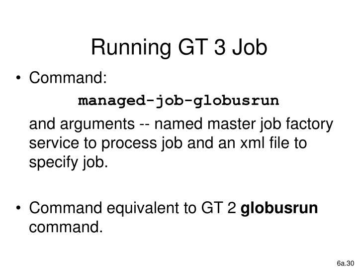 Running GT 3 Job