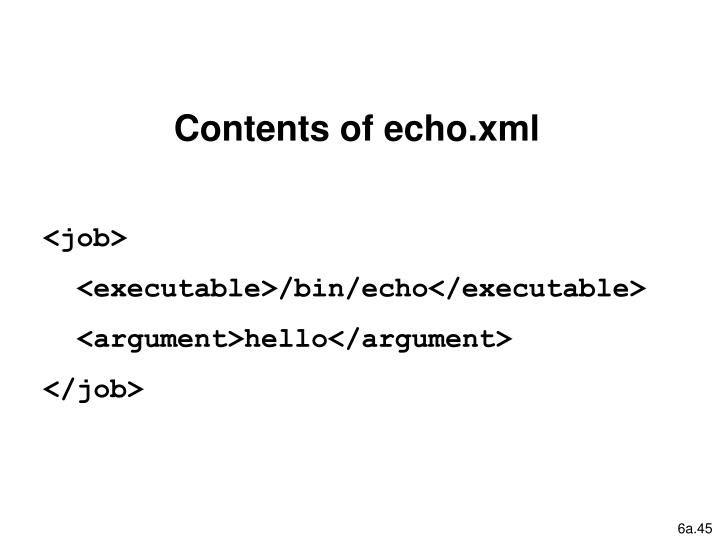 Contents of echo.xml