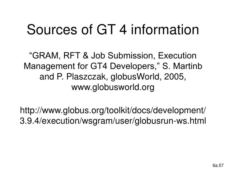 Sources of GT 4 information