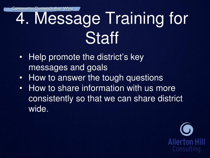 4. Message Training for Staff