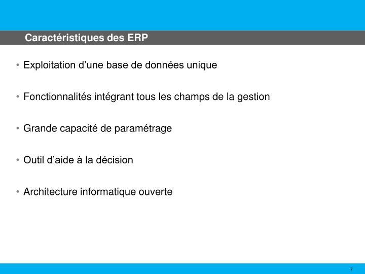 Caractéristiques des ERP