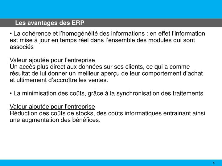 Les avantages des ERP