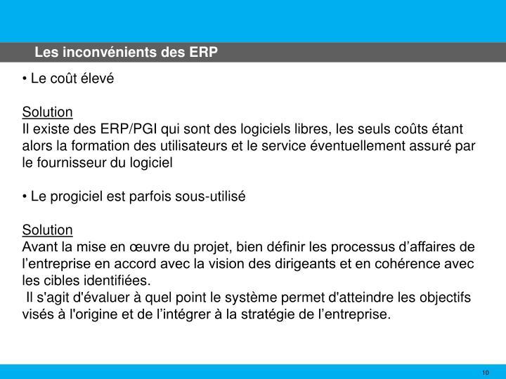 Les inconvénients des ERP