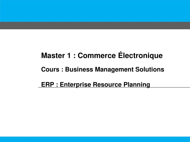 Master 1 commerce lectronique cours business management solutions erp enterprise resource planning
