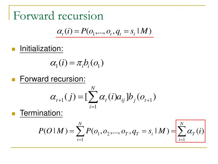 Forward recursion
