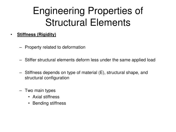 Engineering Properties of Structural Elements