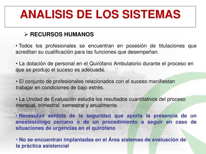 ANALISIS DE LOS SISTEMAS