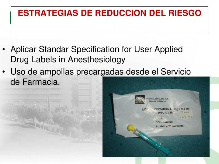 Aplicar Standar Specification for User Applied Drug Labels in Anesthesiology