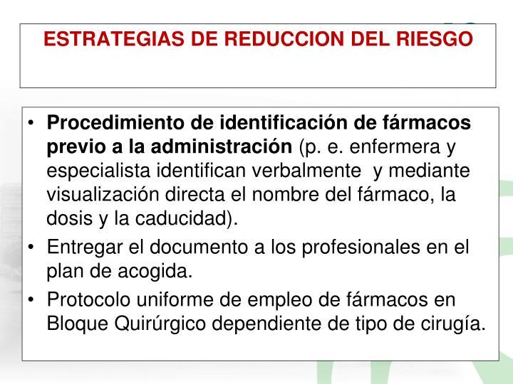 Procedimiento de identificación de fármacos previo a la administración