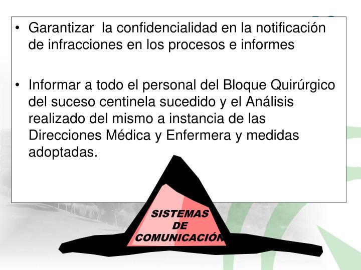 Garantizar  la confidencialidad en la notificación de infracciones en los procesos e informes