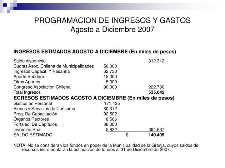 PROGRAMACION DE INGRESOS Y GASTOS