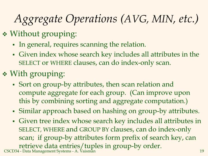 Aggregate Operations (