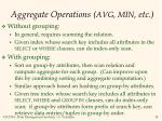 aggregate operations avg min etc