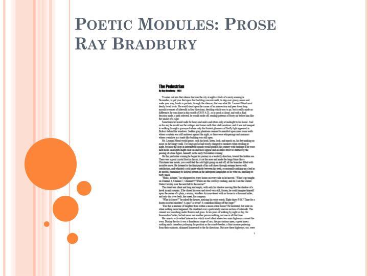 Poetic Modules: Prose