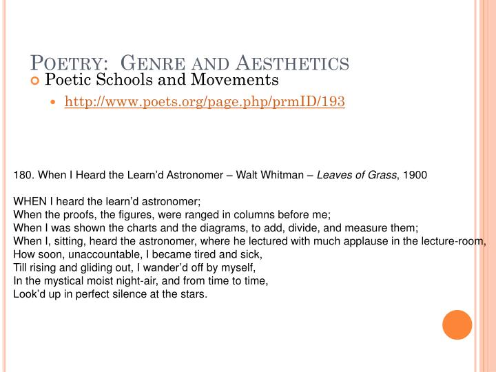 Poetry:  Genre and Aesthetics