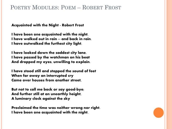 Poetry Modules: Poem – Robert Frost