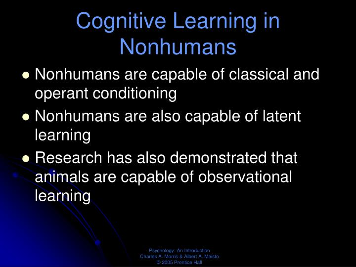 Cognitive Learning in Nonhumans