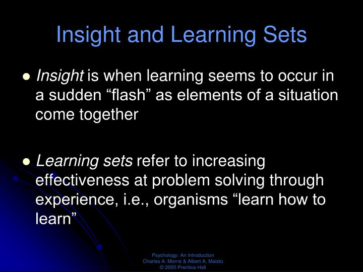 Insight and Learning Sets