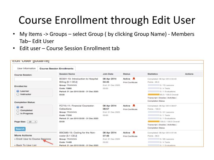 Course Enrollment through Edit User