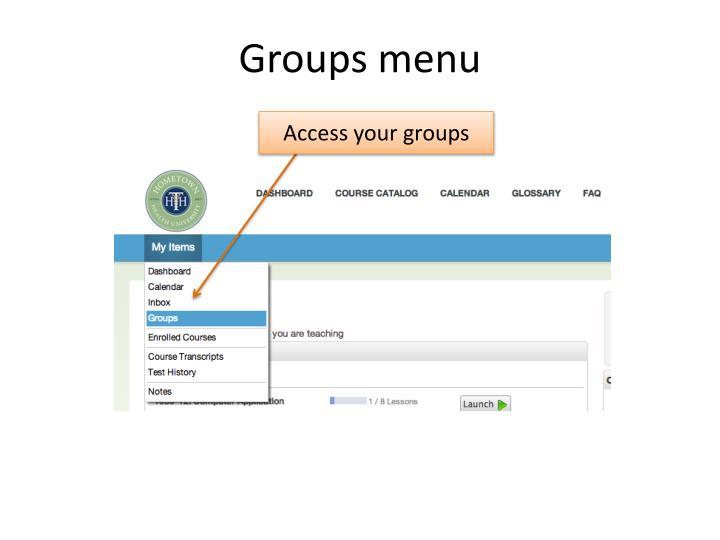 Groups menu