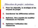 direction de projet missions