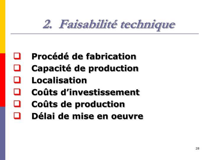 Faisabilité technique