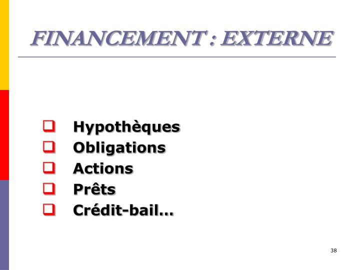 FINANCEMENT : EXTERNE