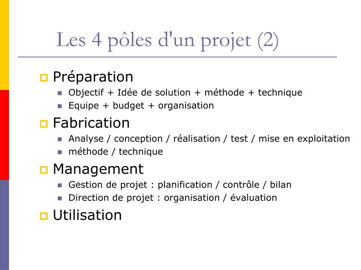 Les 4 pôles d'un projet (2)
