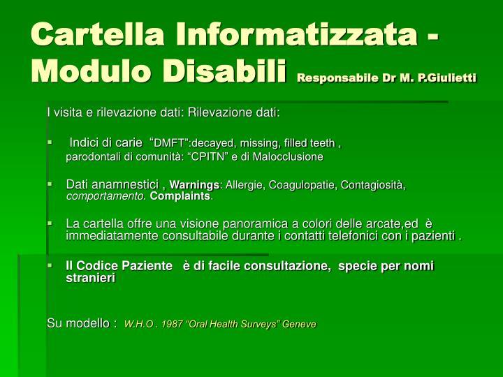 Cartella Informatizzata - Modulo Disabili