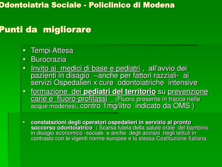 Odontoiatria Sociale - Policlinico di Modena