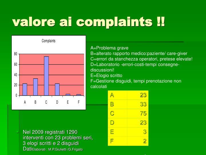 valore ai complaints !!