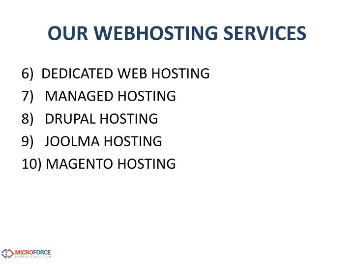 OUR WEBHOSTING SERVICES